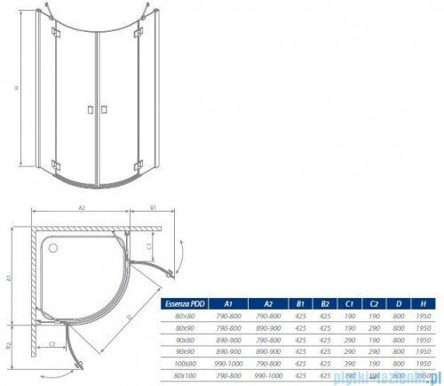 Radaway Kabina prysznicowa Essenza PDD E 90x80 szkło przejrzyste + brodzik Siros E Compact prawy + syfon 32532-01-01N