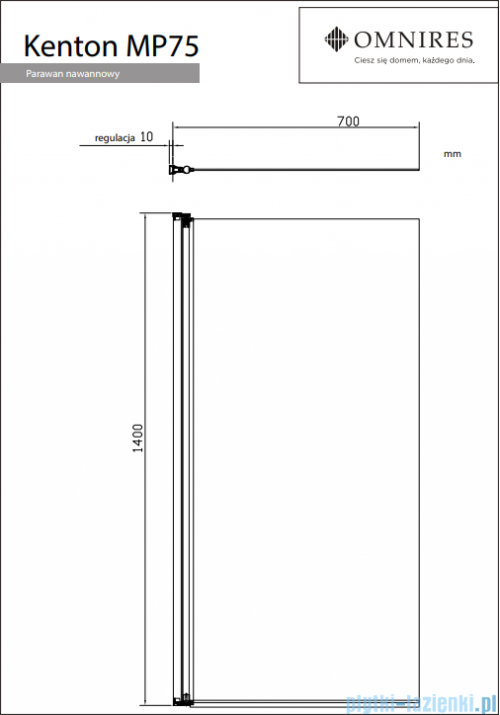 Omnires Kenton parawan nawannowy 1-częściowy 70x140cm przejrzyste MP75CRTR