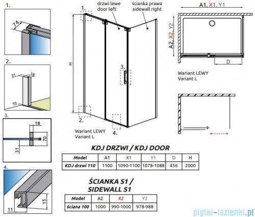 Radaway Espera Kdj kabina prysznicowa 110x100 lewa szkło przejrzyste rysunek techniczny