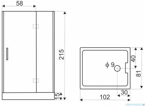 Novoterm Twin-P Kabina hydromasażowa 102x81x215 cm Prawa