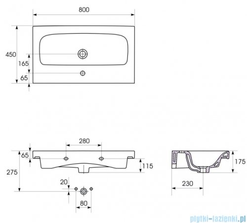 Cersanit Moduo Slim umywalka 80x38 cm meblowa biała K116-012