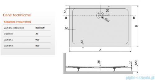 Sanplast Free Line brodzik prostokątny B/FREE 80x90x2,5cm+stelaż 615-040-4350-01-000