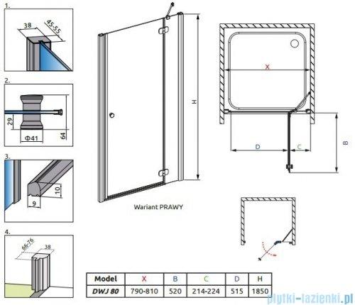 Radaway Torrenta DWJ drzwi wnękowe 80 prawe szkło przejrzyste 32010-01-01N