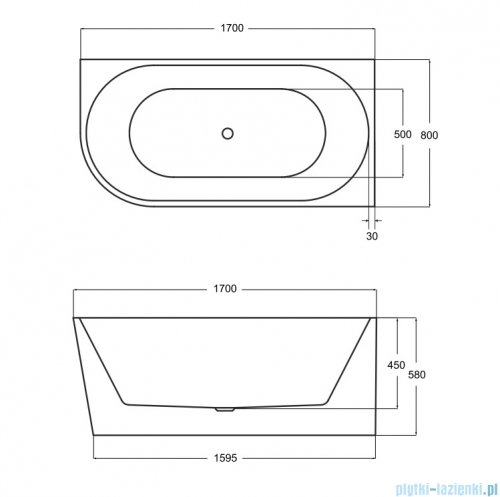 Besco Zoya 170x80cm wanna asymetryczna z obudową prawa + syfon #WAS-170-ZP