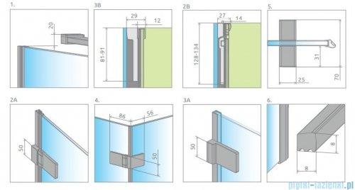 Radaway Arta Dwd+s kabina 90 (50L+40R) x100cm prawa szkło przejrzyste rysunek techniczny