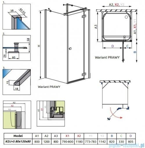 Radaway Kabina prysznicowa Almatea KDJ+S 80x120x80 prawa szkło przejrzyste + brodzik Doros D + syfon rysunek techniczny