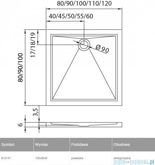 New Trendy Cantare brodzik prostokątny posadzkowy 100x90 B-0141