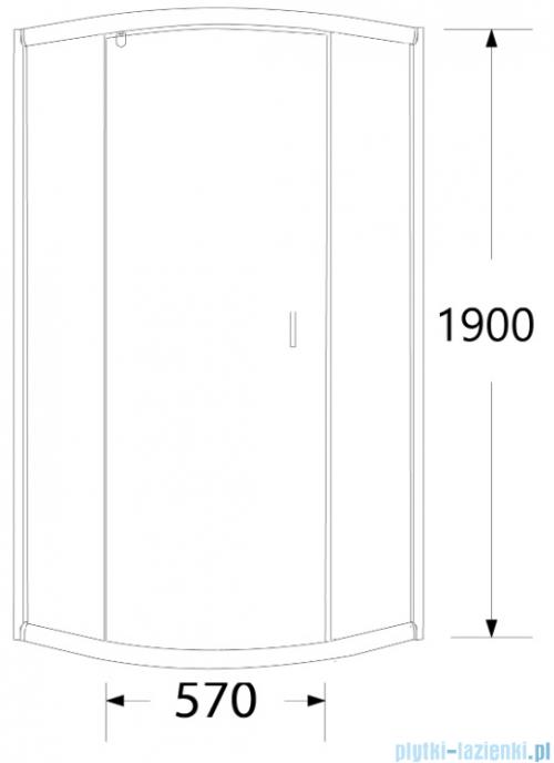Sea Horse Stylio kabina natryskowa półokrągła jednoskrzydłowa 90x90x190 cm przejrzyste BK502RT+