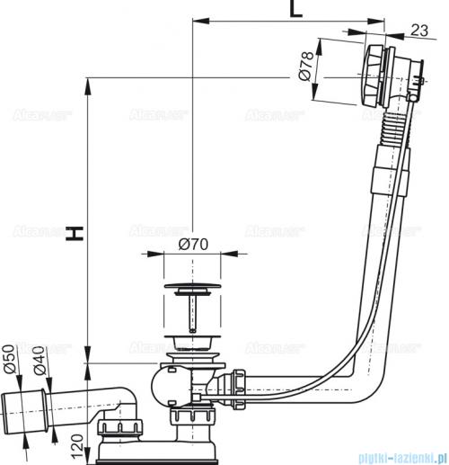 Alcaplast  syfon wannowy automatyczny chrom A550KM-100