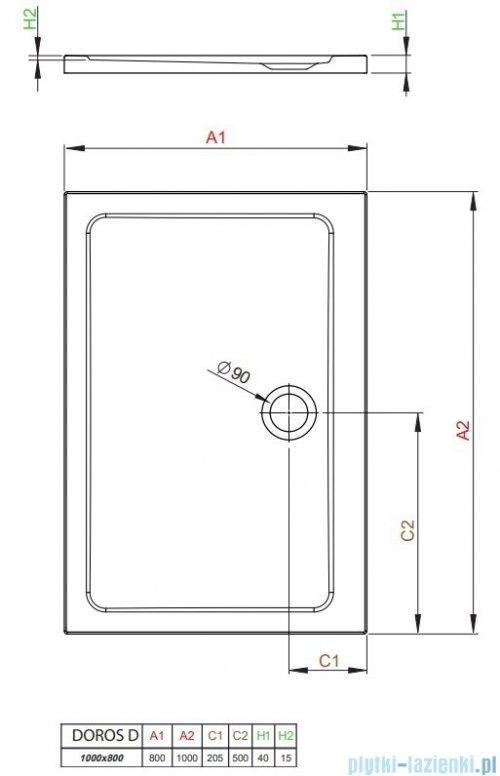 Radaway Doros Plus D Brodzik prostokątny 100x80x4cm SDRPD1080-01