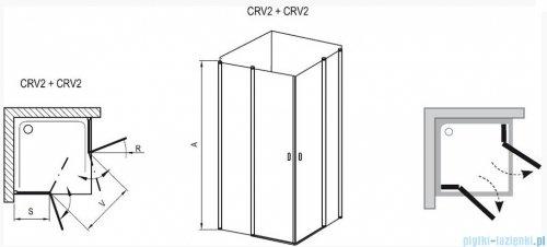 Ravak Chrome Kabina prysznicowa narożna, jedna połowa CRV2-110 satyna+transparent 1QVD0U00Z1