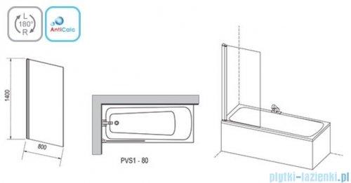 Ravak PVS1 parawan nawannowy 80x140cm satyna transparent 79840U00Z1