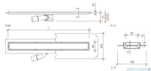 Wiper New Premium Pure Odpływ liniowy z kołnierzem 70 cm poler 100.1973.01.070 rysunek techniczny