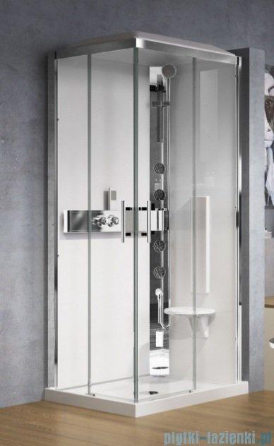 Novellini Glax 3 kabina prysznicowa masażowo-parowa 90x70 prawa srebrny GL3A7099DT1N-1B