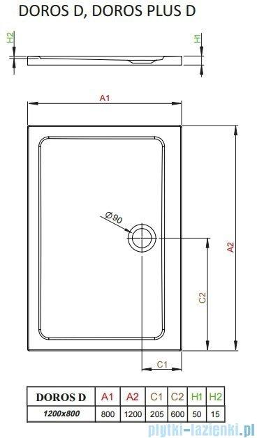 Radaway Arta Kdj II kabina 120x80cm lewa szkło przejrzyste + brodzik Doros D + syfon