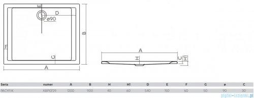 Koło Pacyfik Brodzik 120x90cm prostokątny XBP0729