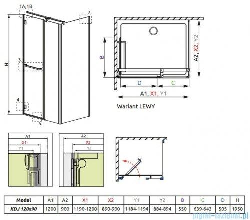 Radaway Carena Kdj Kabina prostokątna 120x90 lewa szkło przejrzyste 34443-01-01NL