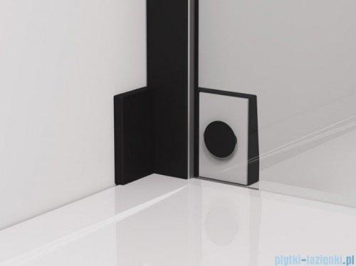 SanSwiss Cadura Black Line drzwi wahadłowe 90cm jednoczęściowe lewe z polem stałym czarny mat CA13G0900607