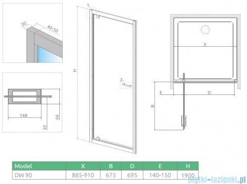 Radaway Twist DW Drzwi prysznicowe 90x190 szkło przejrzyste 382002-01
