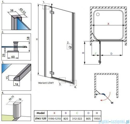 Radaway Almatea DWJ Drzwi wnękowe 120 Lewe szkło grafitowe 31402-01-05N