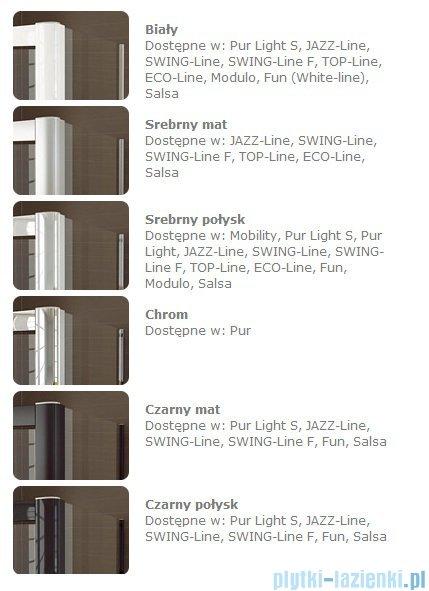 SanSwiss Swing Line F SLF1 Drzwi dwucześciowe 100cm profil biały Lewe SLF1G10000407