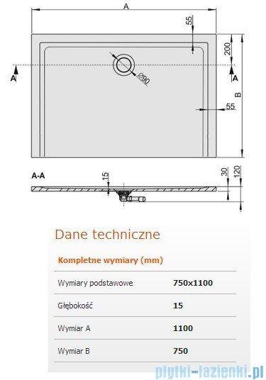 Sanplast Space Mineral brodzik prostokątny 110x75x1,5cm+syfon 645-290-0240-01-000