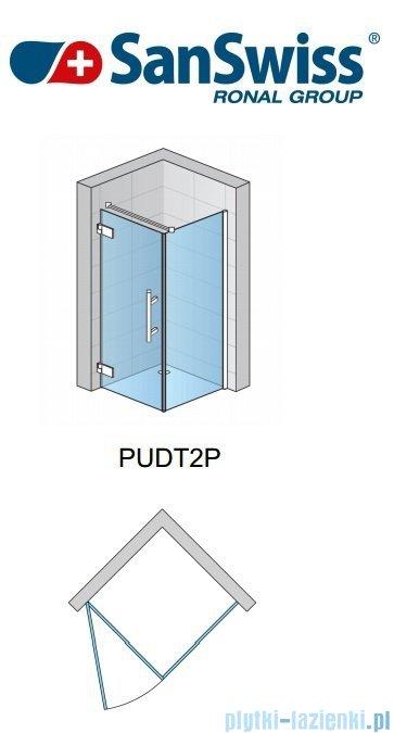 SanSwiss Pur PUDT2P Ścianka boczna 100-160cm profil chrom szkło przejrzyste PUDT2PSM41007