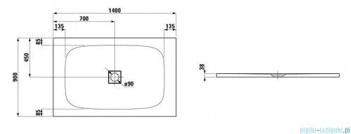 Laufen Solutions brodzik prostokątny 140x90cm biały H2154450000001