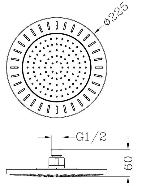 Omnires WG deszczownica 1-funkcyjna 22x22cm chrom/biały WGNEVADACRB