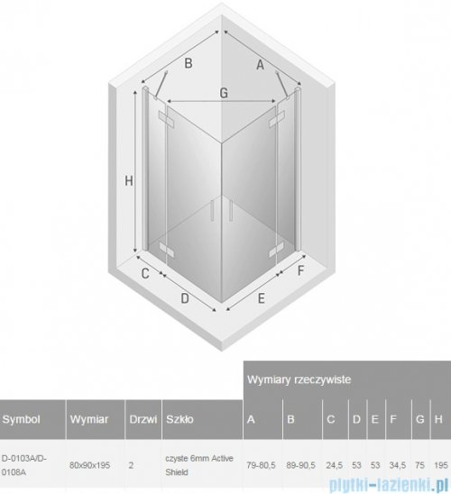 New Trendy New Renoma kabina prostokątna 80x90x195 cm przejrzyste D-0103A/D-0108A