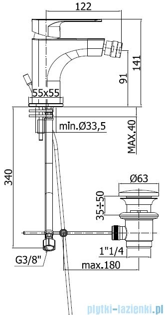 Paffoni Sly Bateria bidetowa chrom SY135CR