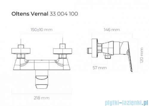 Oltens Vernal bateria prysznicowa ścienna chrom 33004100