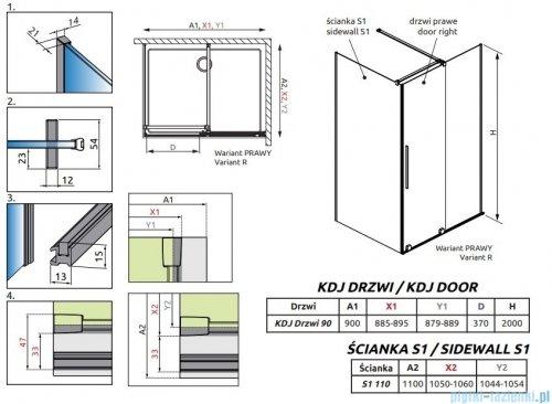 Radaway Furo Gold  Kdj kabina 90x110cm prawa szkło przejrzyste 10104472-09-01R/10110430-01-01/10113110-01-01