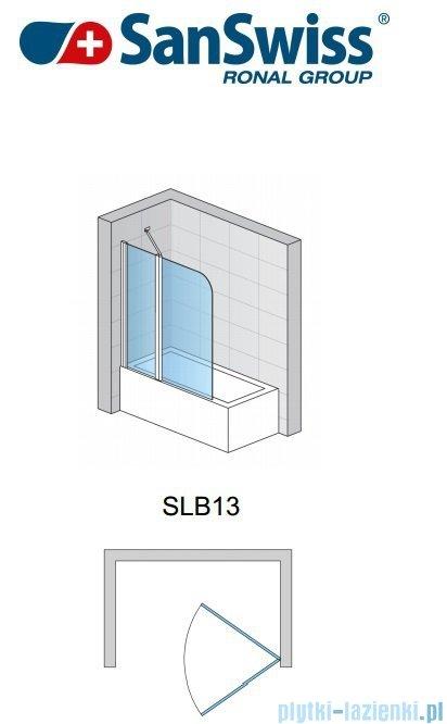 SanSwiss Swing Line SLB13 Parawan 2-częściowy 120cm profil srebrny Lewy SLB13G1200107