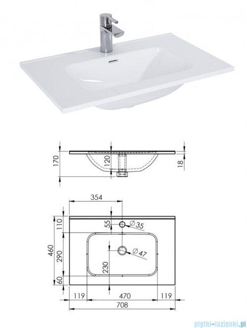 Elita Futuris szafka z umywalką 70x37x45cm biały połysk 166932/145835