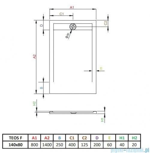 Radaway Teos F brodzik 140x80cm antracyt HTF14080-64