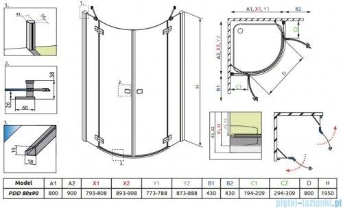 Almatea PDD E Radaway Kabina półokrągła 90x80 szkło brązowe 30532-01-08N