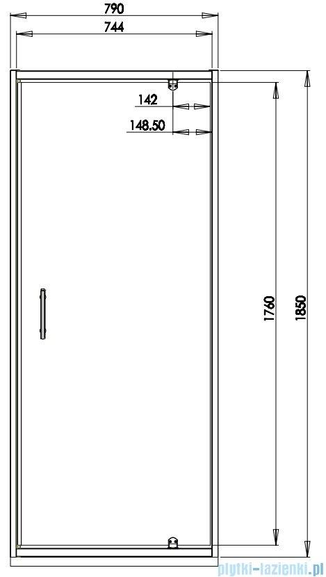 Omnires S drzwi prysznicowe 80 cm przejrzyste S-80DCRTR