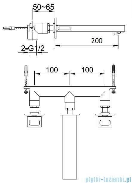Kohlman Nexen 3-częściowa podtynkowa bateria umywalkowa QW193U