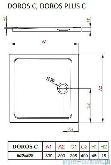 Radaway Essenza New Kdj kabina 80x80cm prawa szkło przejrzyste + brodzik Doros C + syfon