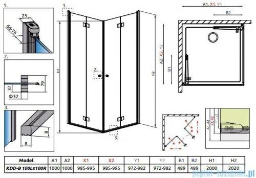 Radaway Essenza New Kdd-B kabina 100x100cm przejrzyste bez listwy progowej 385072-01-01LB/385072-01-01RB