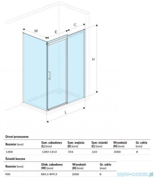 Excellent Rols kabina prostokątna 130x80 cm przejrzysta