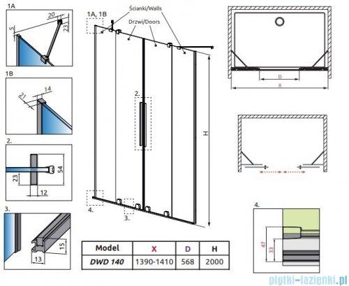 Radaway Furo Gold DWD drzwi prysznicowe 140cm szkło przejrzyste 10108388-09-01/10111342-01-01