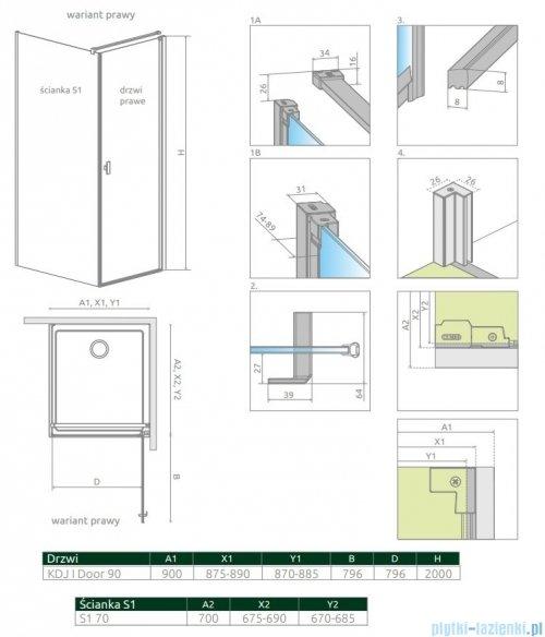 Radaway Nes Black Kdj I kabina 90x70cm prawa szkło przejrzyste 10022090-54-01R/10039070-01-01
