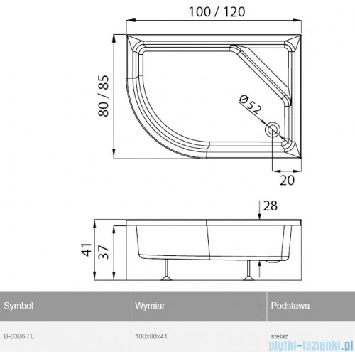 New Trendy New Maxima brodzik asymetryczny 100x80x41cm lewy B-0386/L