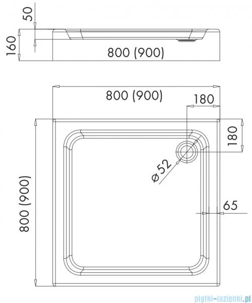 Omnires Invest Project brodzik kwadratowy zintegrowany z obudową 90x90x16 cm InvestProject90/K