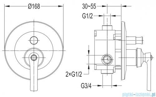 Omnires Armance bateria wannowa-podtynkowa chrom AM5235CR