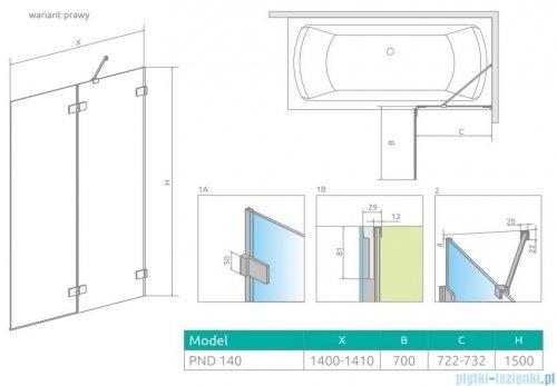 Radaway Euphoria Pnd II parawan nawannowy 140cm prawy szkło przejrzyste 10008140-01-01R
