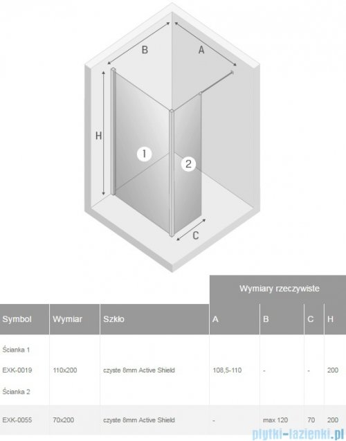 New Trendy New Modus kabina Walk-In 110x70x200 cm przejrzyste EXK-0019/EXK-0055