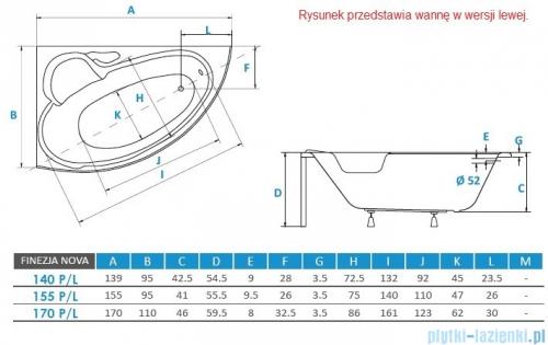 Piramida Finezja 140x95cm Wanna asymetryczna Lewa FIN140L